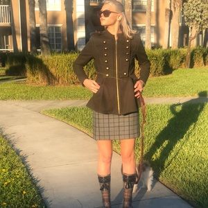 BCBG Military Style Zip up wool Coat army green